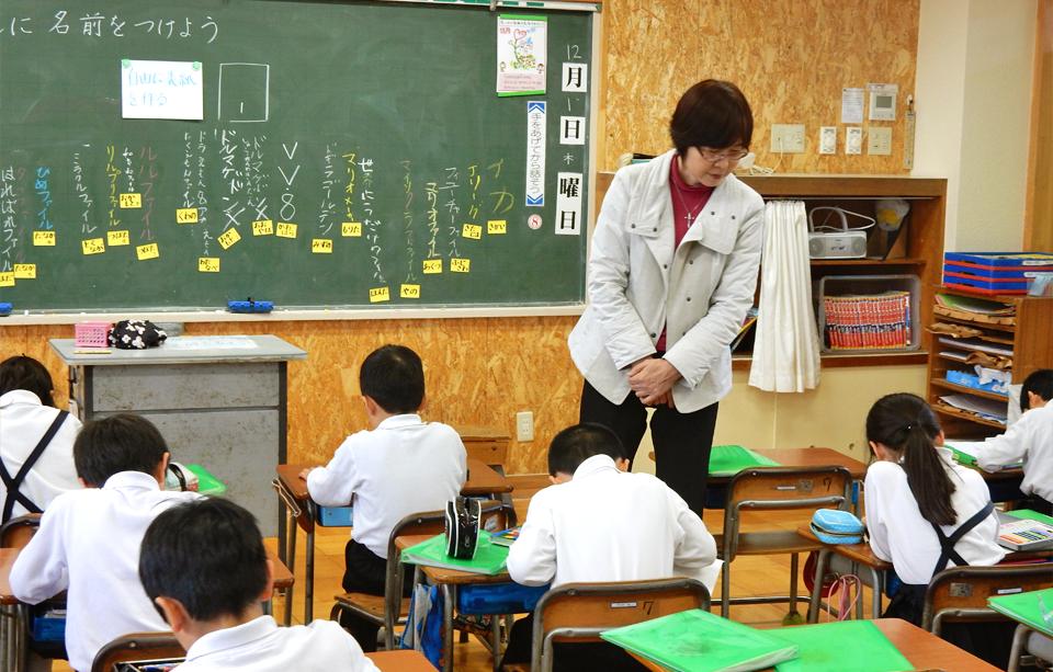 2016年12月01日鳴鹿小学校三年生の教室で行った出前授業の様子